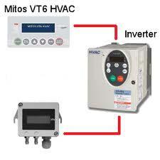 Frekvensomriktaren VF-FS1 och panelen MITOS VT6-HVAC  för tryck- eller flödesreglering med frekvensomriktare