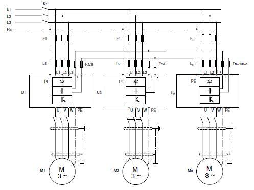 dc-mellanled frekvensomriktare kopplingsschema